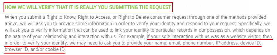 Peoplease Privacy Policy: How we will verify that it is really you submitting the request clause