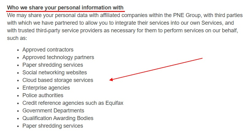 PNE Group Privacy Policy: Who we share your personal information with clause