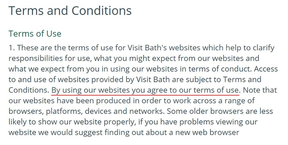 Visit Bath Terms and Conditions: Browsewrap clause