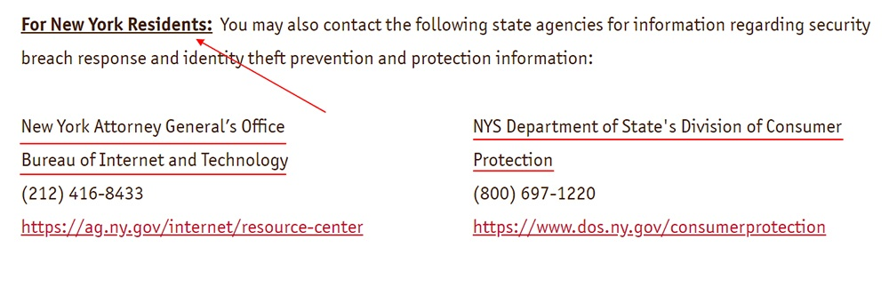 Wawa Data Security - Updates and Customer Resources - For New York Residents contact section