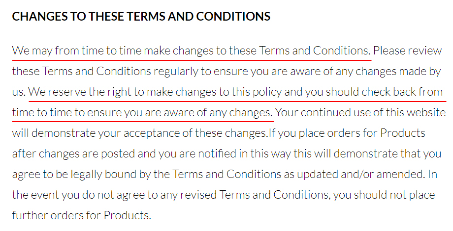 AB Optics Terms and Conditions: Changes to These Terms and Conditions clause