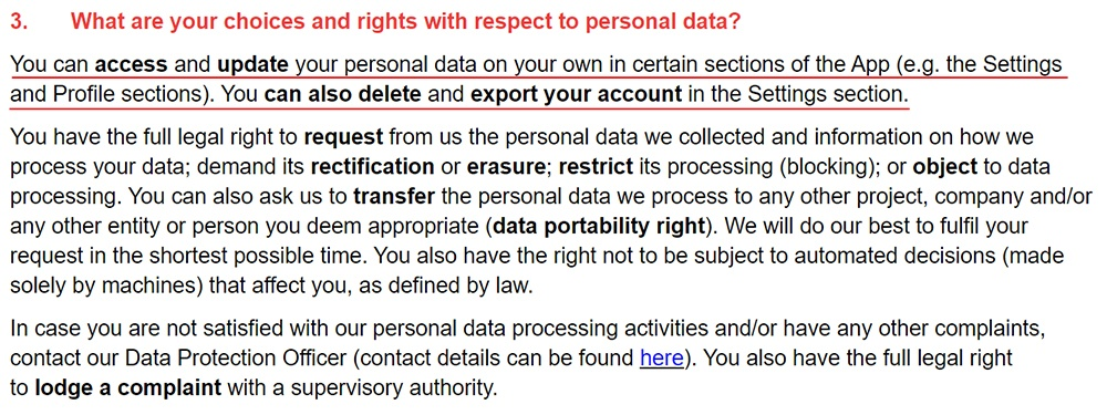 App in the Air Privacy Policy: Your choices and rights with respect to personal data clause
