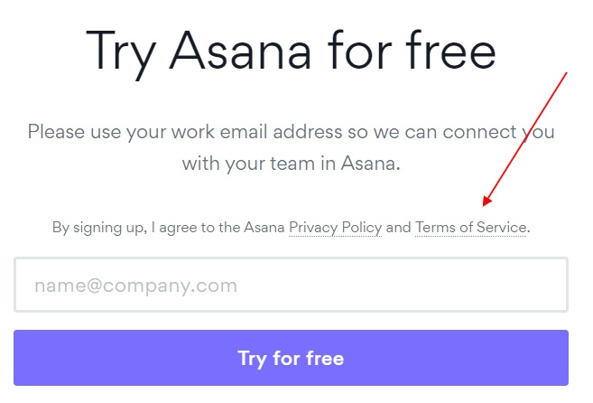 Asana sign-up screen with Agree to Terms of Service highlighted