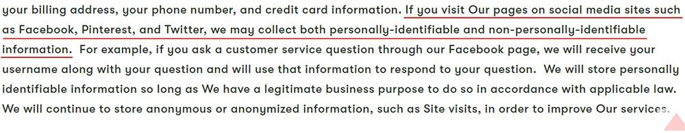 Bando Privacy Policy: Information you provide clause - Social media excerpt