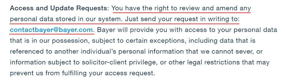 Bayer Canada Privacy Statement: Access and Update Requests clause
