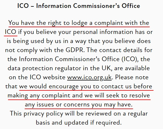 Bowles and Wyer Privacy Policy: Right to complain to the ICO clause