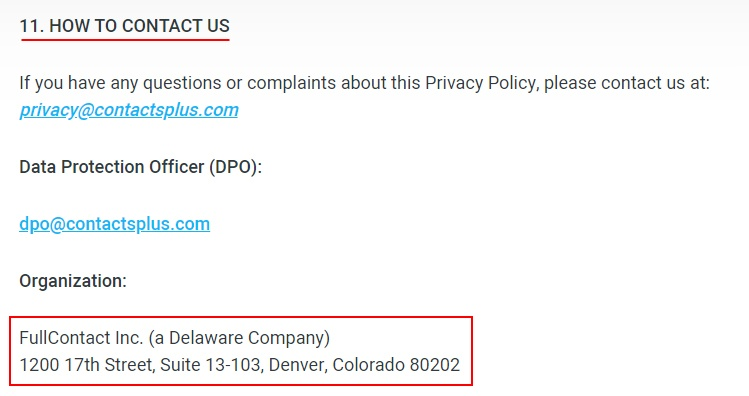 ContactsPlus Privacy Policy: How to contact us clause
