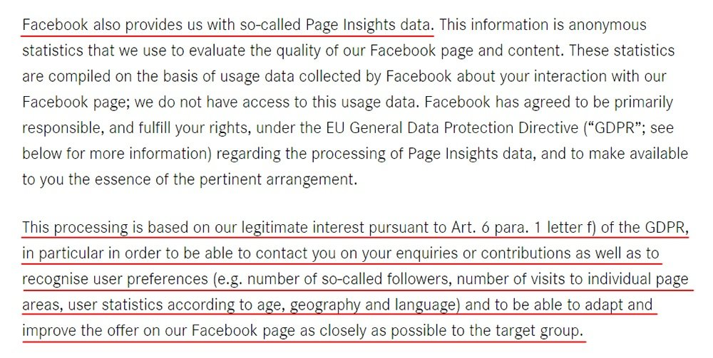 Daimler Facebook Page Privacy Policy: Page Insights data and GDPR legitimate interest clause