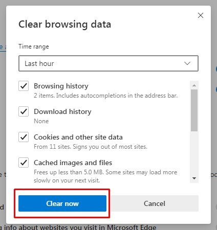 Edge Clear browsing data - Clear now button highlighted