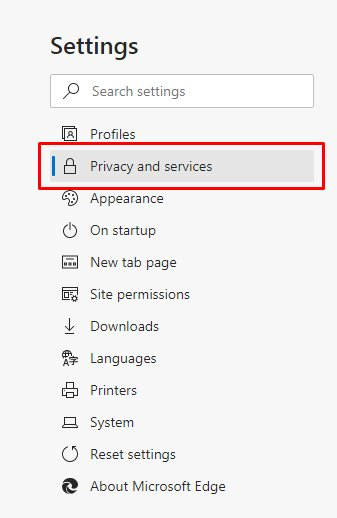 Edge Settings menu: Privacy and Services option highlighted