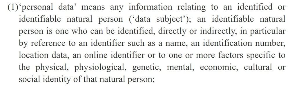 EUR-Lex: GDPR - Definition of personal data
