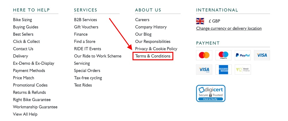 Evans Cycles website footer with Terms and Conditions link highlighted