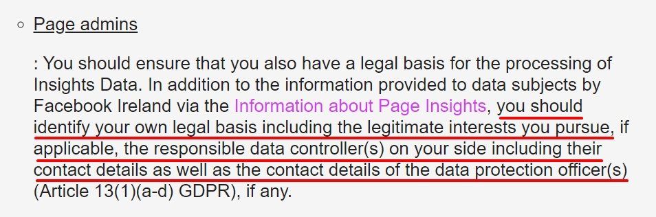 Facebook Page Insights Controller Addendum: Page admins clause - Legal basis and contact details excerpt