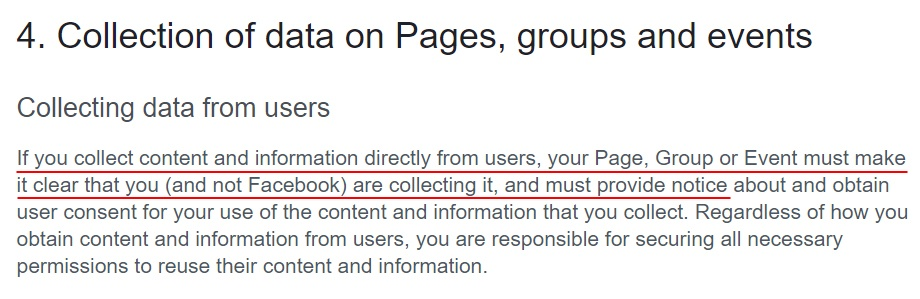 Facebook Pages, Groups and Events Policies: Collection of data from users on pages clause