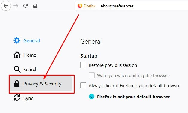 Firefox Preferences: Privacy and Security highlighted