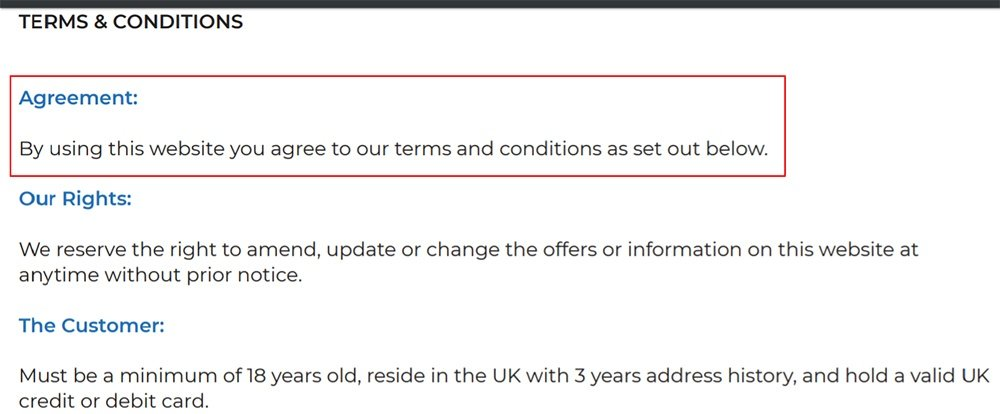 Fonehouse Terms and Conditions: Browsewrap Agreement clause