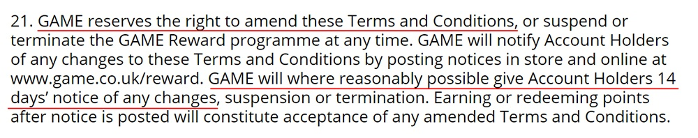 GAME Terms and Conditions: Changes to the terms clause