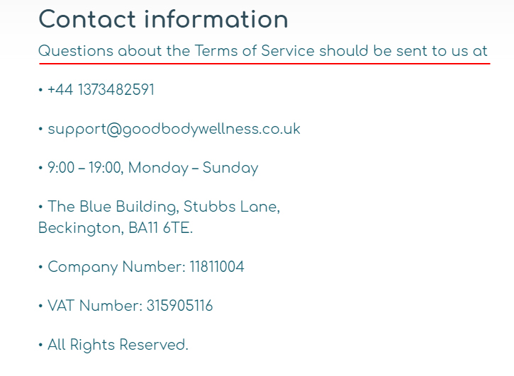 Goodbody Wellness Terms and Conditions: Contact clause