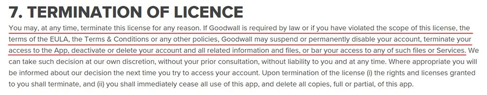 Goodwall EULA: Termination of Licence clause