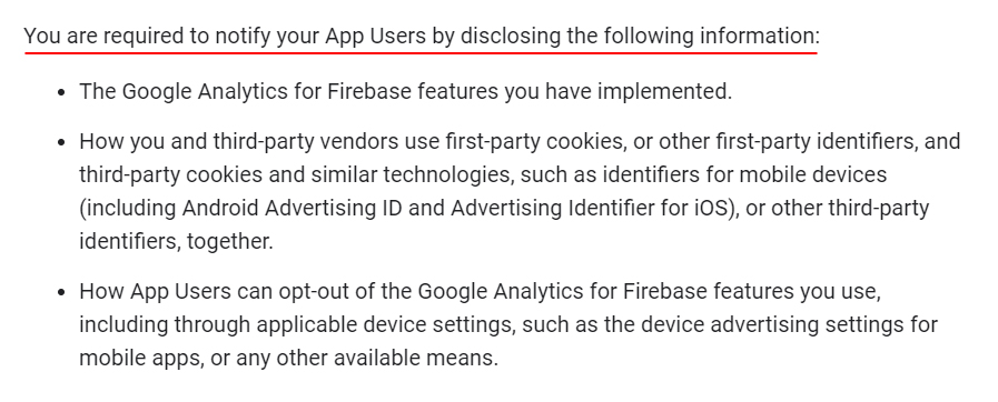 Google Analytics for Firebase Terms: Required to Disclose the following clause