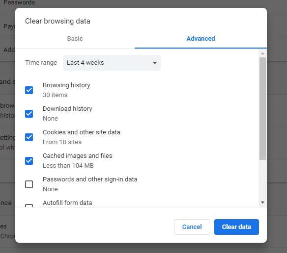 Google Chrome: Clear browsing data - Advanced