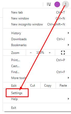 Google Chrome dot menu with Settings highlighted