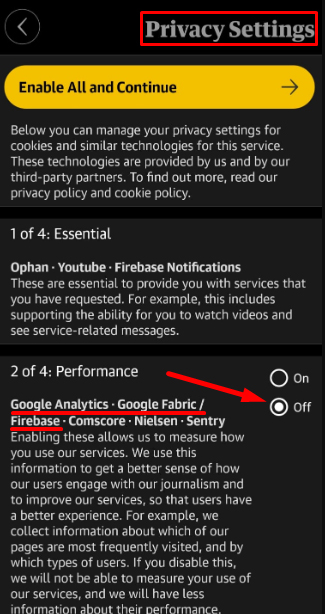 The Guardian app Privacy Settings: Google Analytics setting highlighted
