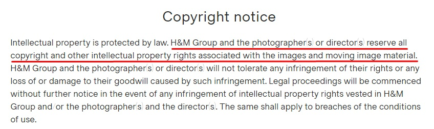 H and M Terms and Conditions: Copyright Notice