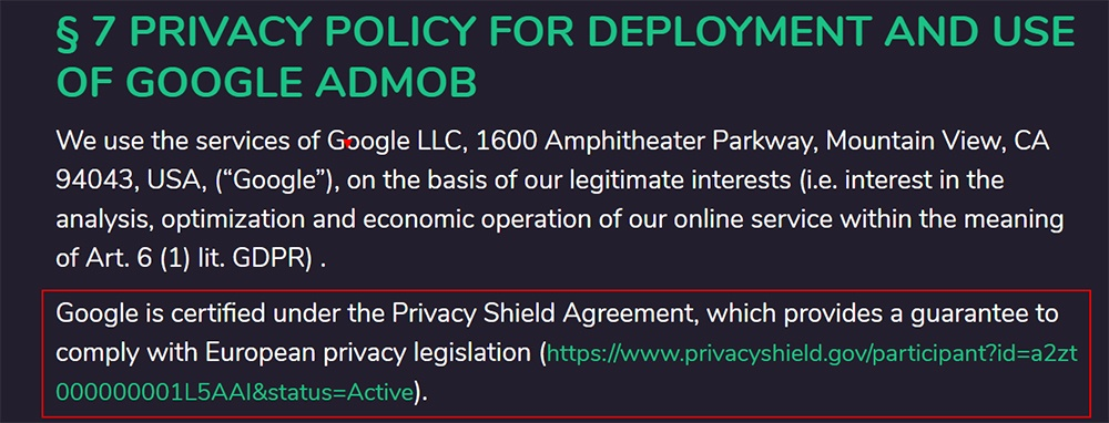 Incogny Privacy Policy: Privacy Policy for Deployment and Use of Google Admob - Privacy Shield section highlighted