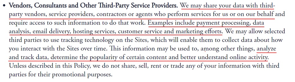 Inne Privacy Policy: Vendors consultants and other third-party service providers clause