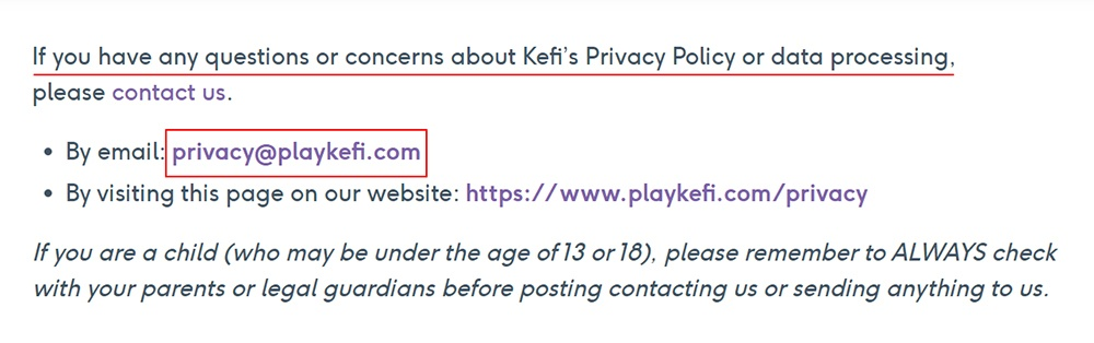 Kefi Privacy Policy: Contact clause