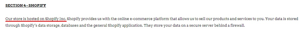 Leif Privacy Policy: Shopify clause excerpt