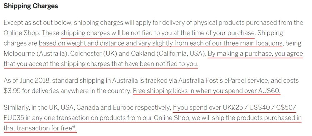 Lonely Planet Terms and Conditions: Shipping Charges clause