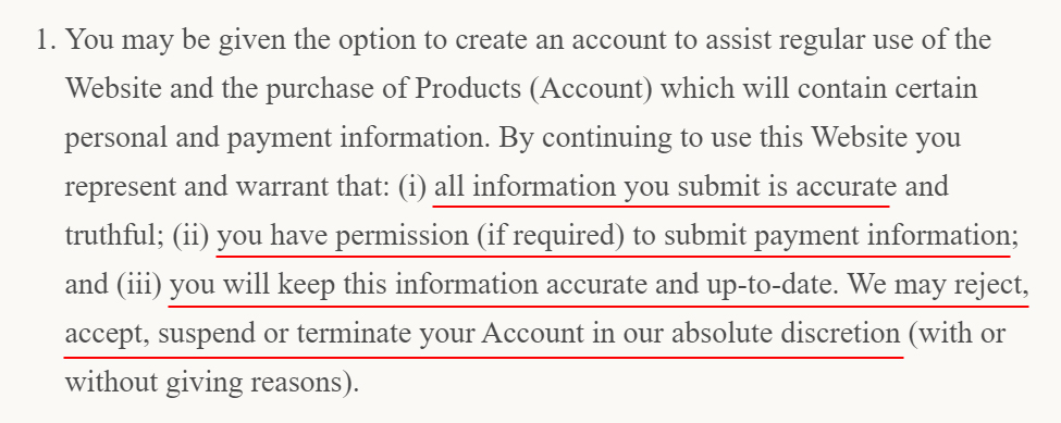 Macacha Terms and Conditions: Create and terminate account clause
