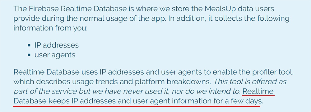MealsUp Privacy Policy: Firebase Realtime Database clause