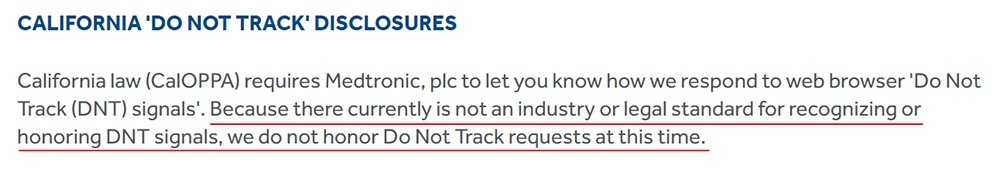 Medtronic Privacy Statement: Do Not Track clause