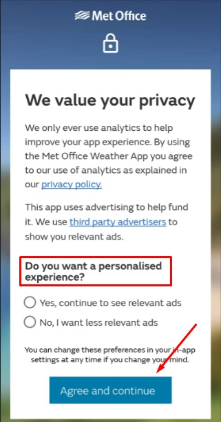 Met Office app: Relevant ads consent screen