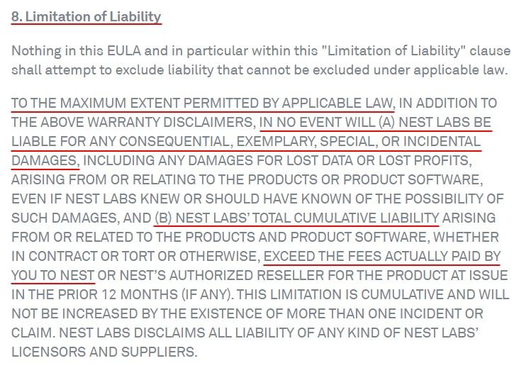 Nest EULA: Limitation of Liability clause