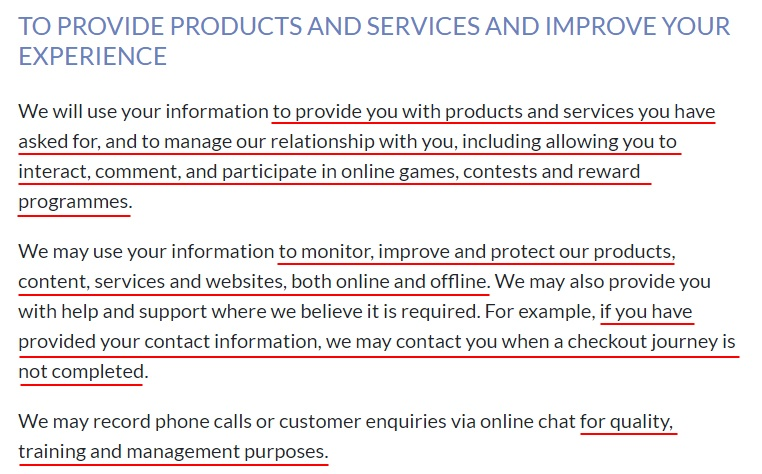 News UK Privacy Policy: How we use personal information clause - To provide products and services and improve experience section