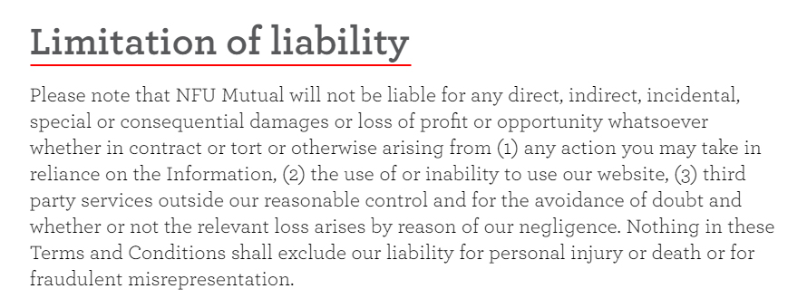 NFU Mutual Terms and Conditions: Limitation of Liability
