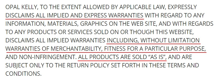 Opal Kelly Terms and Conditions: Warranty disclaimer clause