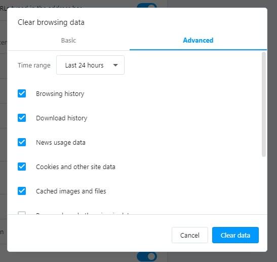 Opera: Clear browsing data - Advanced