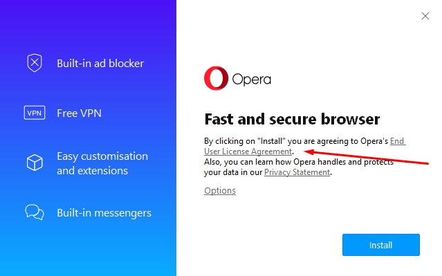 Opera installation screen: Clickwrap agreement highlighted
