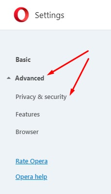 Opera Settings Menu: Advanced and Privacy and security options highlighted