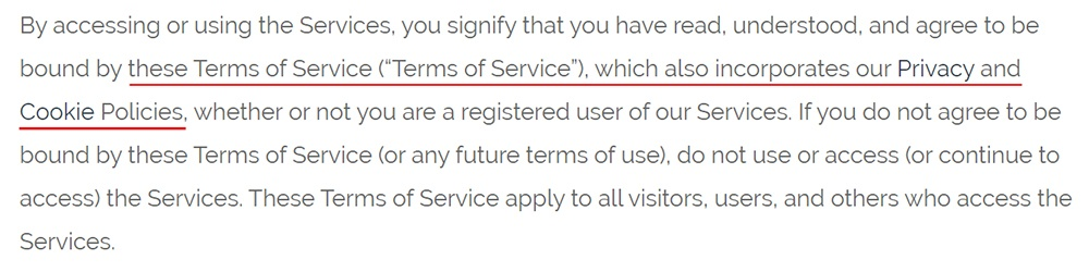 Optimal Geek Terms of Service: Terms acceptance clause