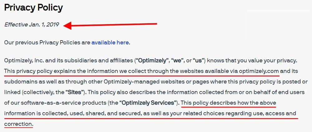 Optimizely Privacy Policy: Introduction clause