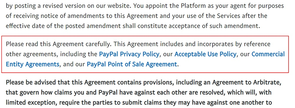 PayPal Seller Account Agreement: Incorporated agreements section