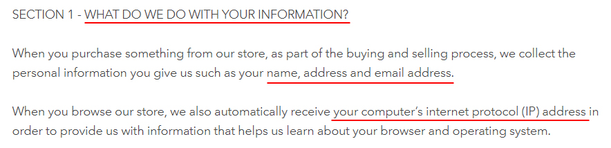 Pearl Daisy Privacy Policy: What do we do with your information clause excerpt