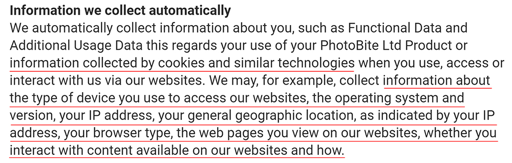 PhotoBite Privacy Policy: Information we collect automatically clause
