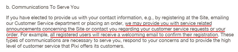 Pixi Beauty UK Privacy Policy: Communications to Serve You clause